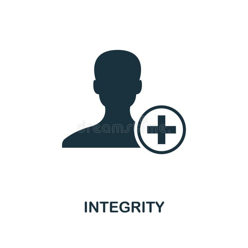 E Diseño monocromático del estilo de la colección del icono de la ética empresarial UI y UX Icono perfecto de la integridad del p stock de ilustración