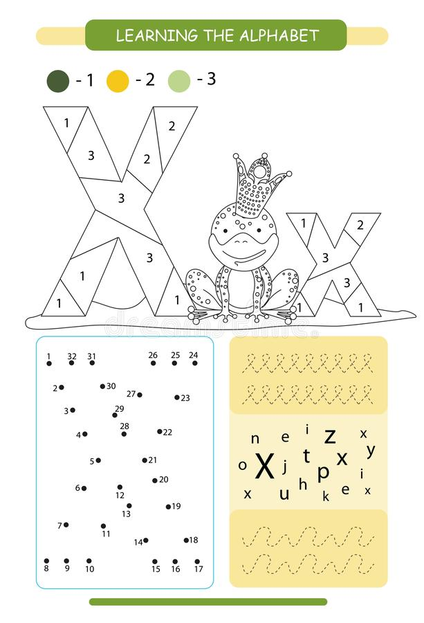 E Djuralfabeta-z F?rga sidan Tryckbar arbetssedel handskrift?vning F?rbind g?r stock illustrationer