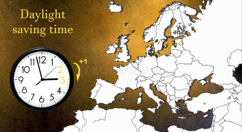 E DST Muurklok die naar de wintertijd gaan Voorwaartse draaitijd royalty-vrije illustratie
