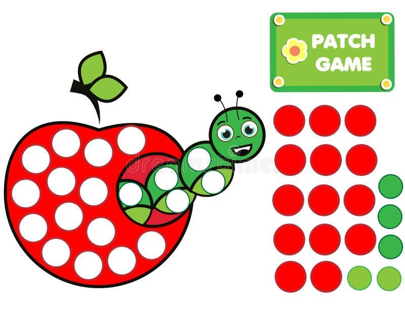 E Edukacyjna aktywność dla dzieciaków i berbeci Caterpillar W Apple ilustracji