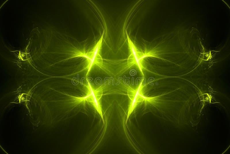 E efecto luminoso del caleidoscopio ilustración del vector