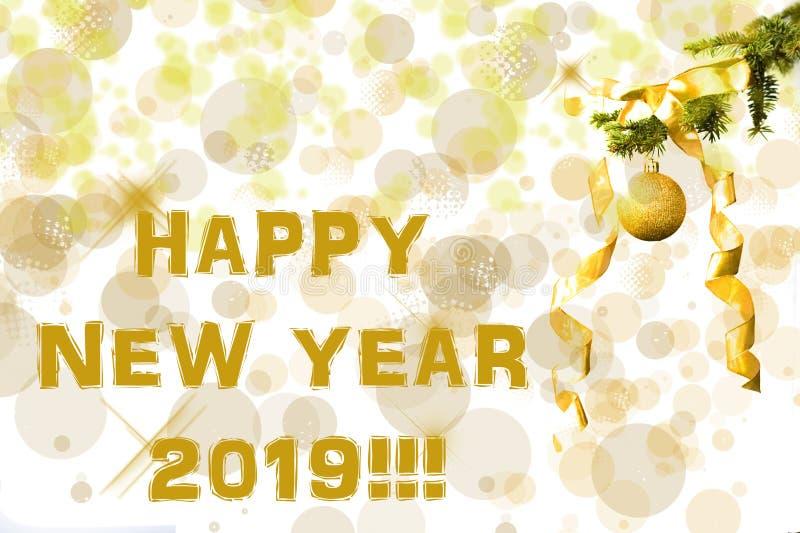 E Efeitos de Bokeh christmastime Cartão do Natal Ano novo 2019 fotografia de stock royalty free