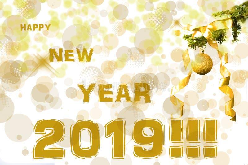E Efeitos de Bokeh christmastime Cartão do Natal Ano novo 2019 foto de stock royalty free