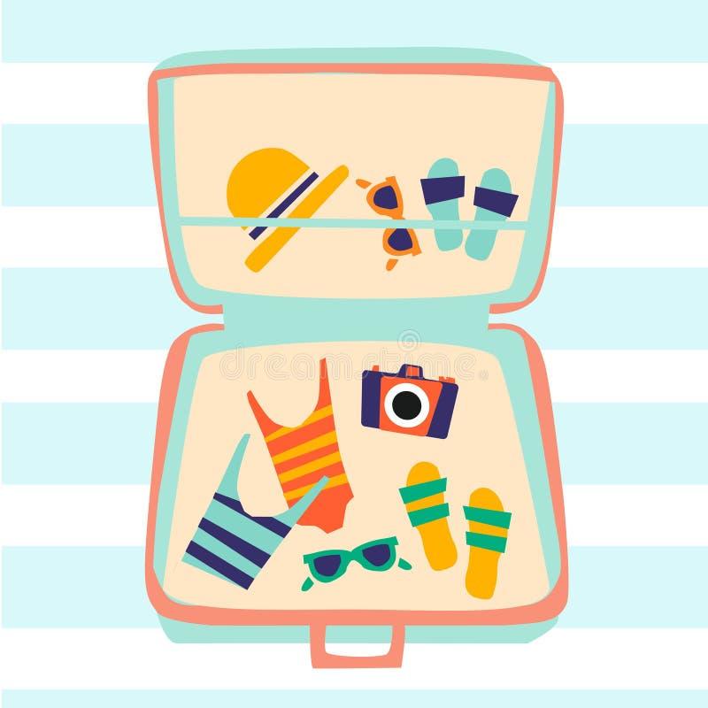 E El ejemplo muestra los accesorios de la playa - traje de baño, vidrios, toalla, sombrero ilustración del vector