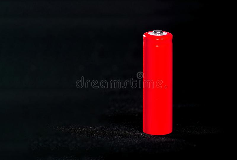 E electrics Bateria Acumulador na tela com villi espa?o fotos de stock