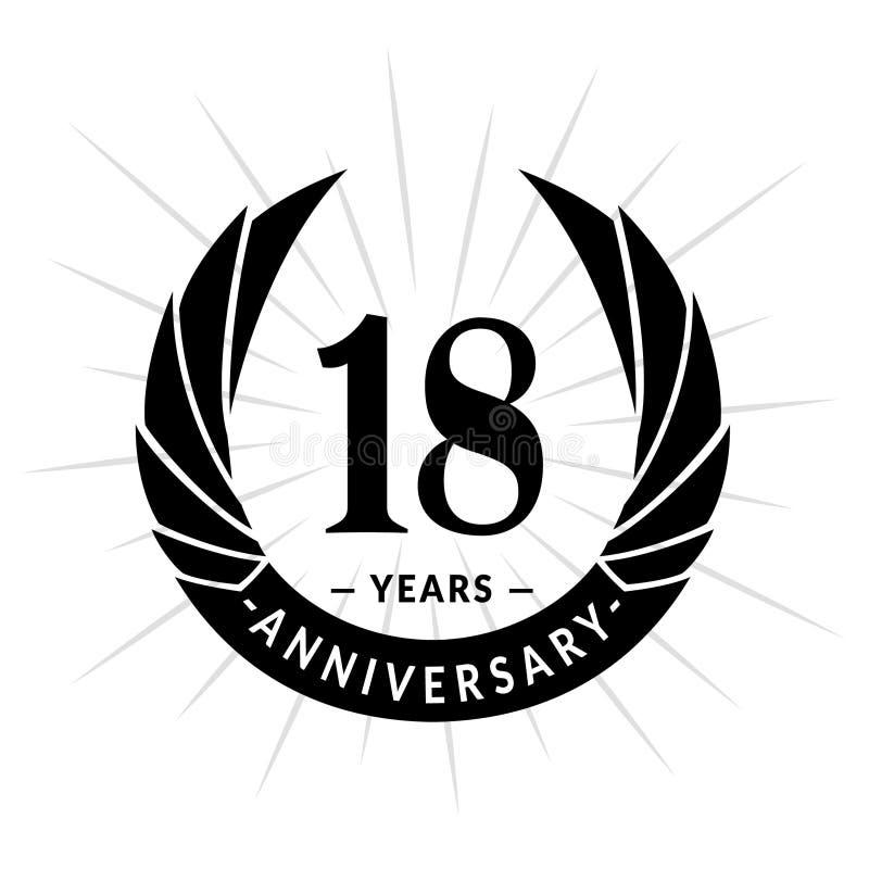 E Elegancki rocznicowy logo projekt Osiemnaście rok logo royalty ilustracja
