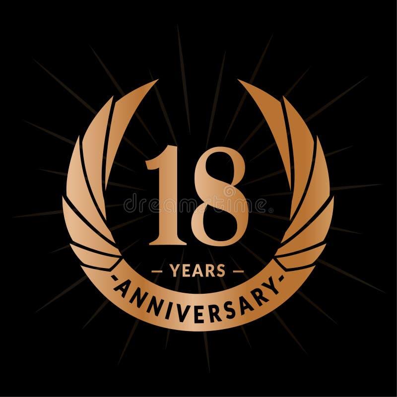 E Elegancki rocznicowy logo projekt Osiemnaście rok logo ilustracja wektor