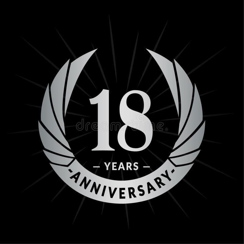 E Elegancki rocznicowy logo projekt Osiemnaście rok logo ilustracji