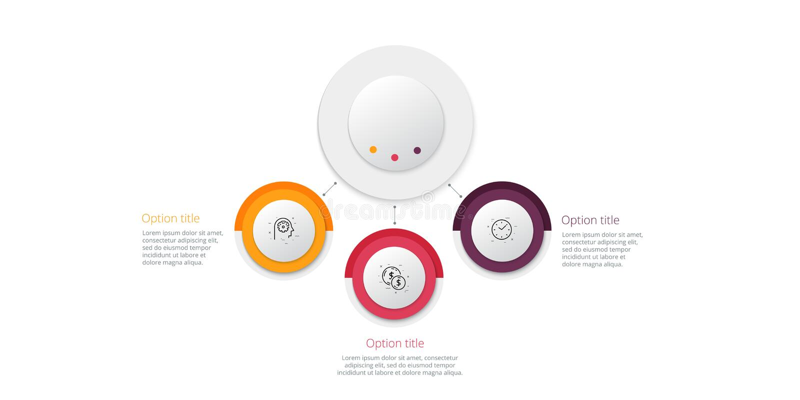 E Elementi corporativi circolari del grafico di flusso di lavoro E illustrazione vettoriale