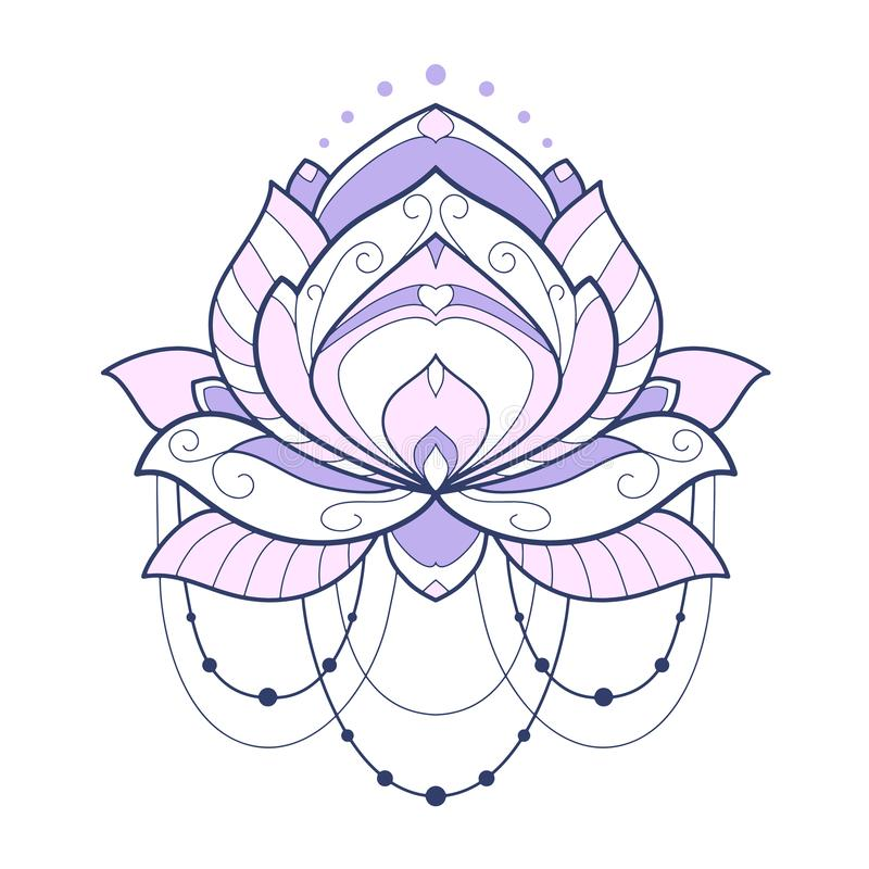 E Elemento decorativo simmetrico con il motivo orientale royalty illustrazione gratis