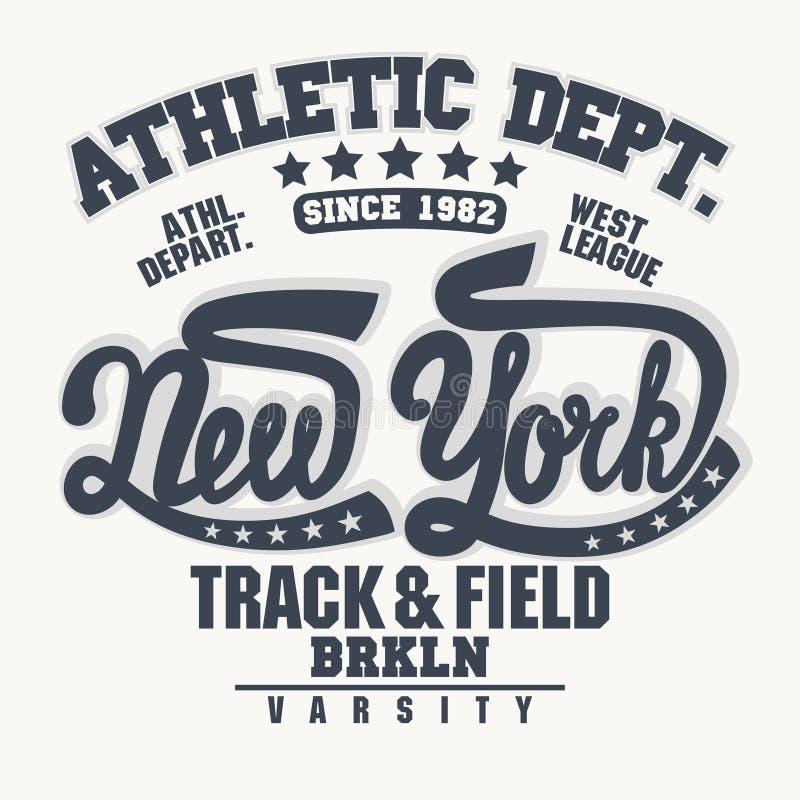 E Emblema da tipografia do desgaste do esporte ilustração stock