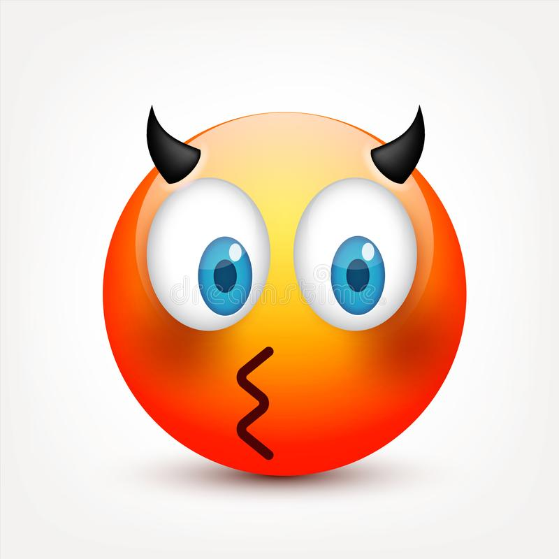 E Emoji realístico r Personagem de banda desenhada Ilustração do vetor ilustração stock