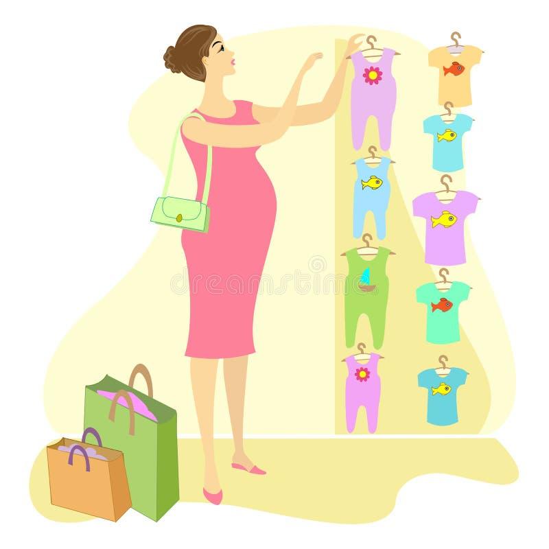 E En gravid kvinna, köper hon kläder för hennes barn Välj i de lagerglidarna och T-tröja Hon ?r a stock illustrationer