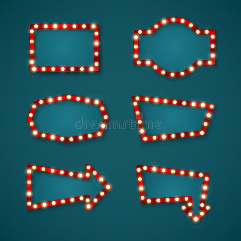 E Enseignes géométriques de forme pour des labels de casino et de flèche Illustrtion de vecteur illustration stock