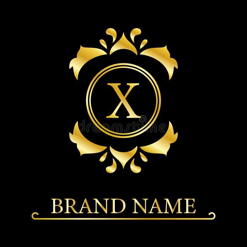 E Estilo real agraciado Logotipo hermoso caligr?fico Emblema dibujado vintage para el dise?o del libro, marca, stock de ilustración