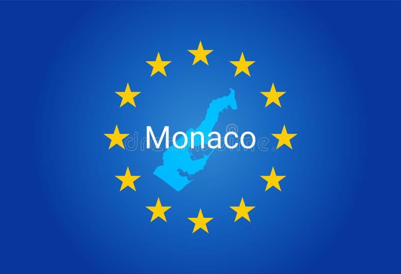 E. - europeisk facklig flagga och översikt av Monaco vektor royaltyfri illustrationer