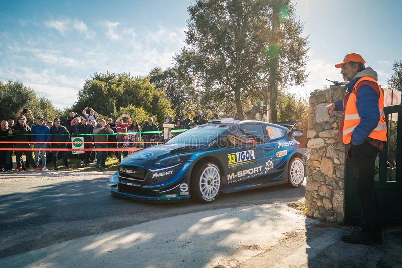 e Evans u. S Martin konkurrieren im 2019 WRC-Ausflug de Corse lizenzfreie stockfotos