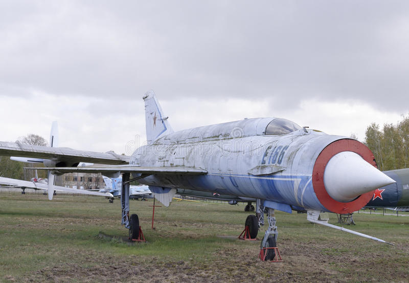 E-152- Experimental aircraft(1961). MONINO, MOSCOW REGION, RUSSIA- OCTOBER 8- E-152- Experimental aircraft(1961).Speed and height records were broken :2681 km/h stock photo