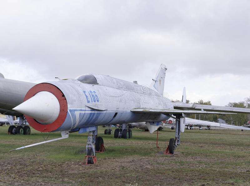 E-152- Experimental aircraft(1961). MONINO, MOSCOW REGION, RUSSIA- OCTOBER 8- E-152- Experimental aircraft(1961).Speed and height records were broken :2681 km/h stock images