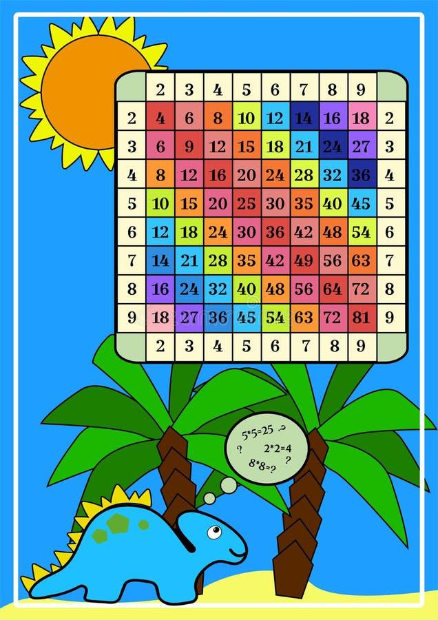 E Färgtabell för multiplikation av matematik med dino Tryckaffisch för bildande materiella elever på skola stock illustrationer