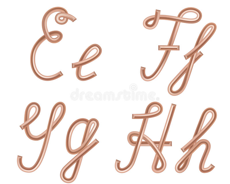 E, F, G, H Vector Letters Made Of Metal Copper Wire. Stock Vector ...