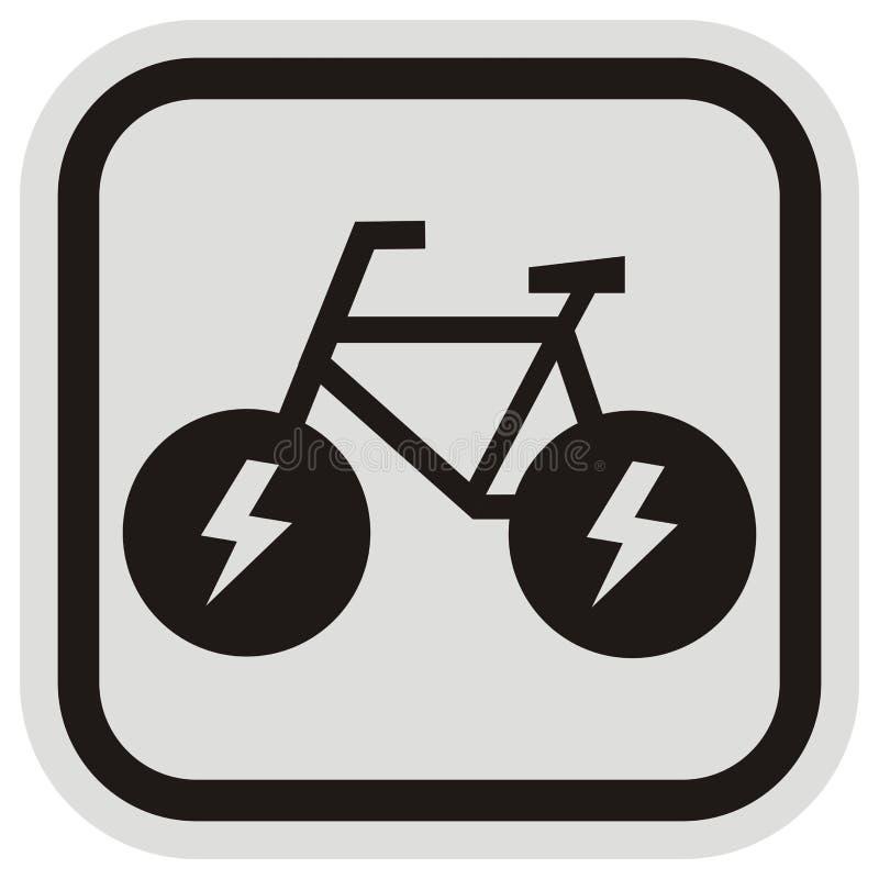 E-Fahrrad, schwarzes Schattenbild am grauen und schwarzen Rahmen, Vektorikone lizenzfreie abbildung