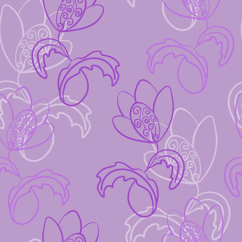 E Fantasie, fabelachtige bloem met krullen Vaak herhaald in ??n richting stock illustratie