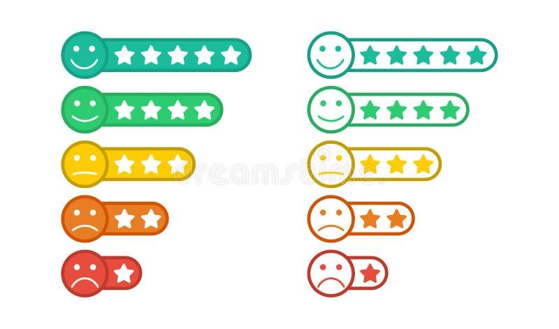 E Feedback Emoticon Sternbewertung Verbraucherbewertung lizenzfreie abbildung