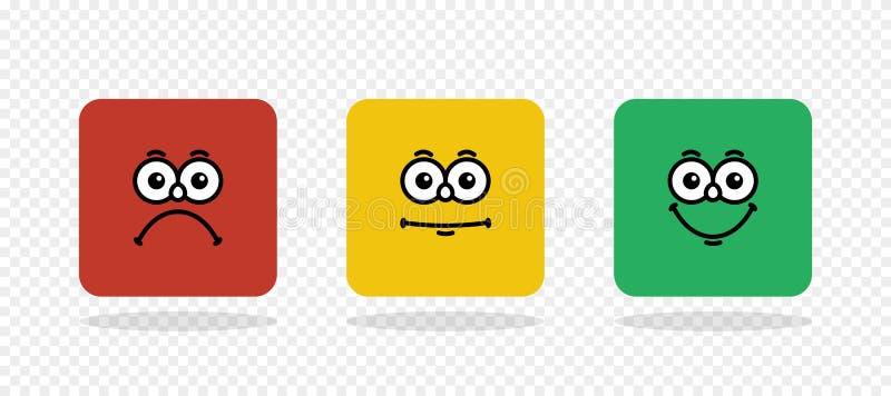 E Feedbackvektorkonzept Feedback in der Form von Gefühlen, smiley, emoji lizenzfreie abbildung