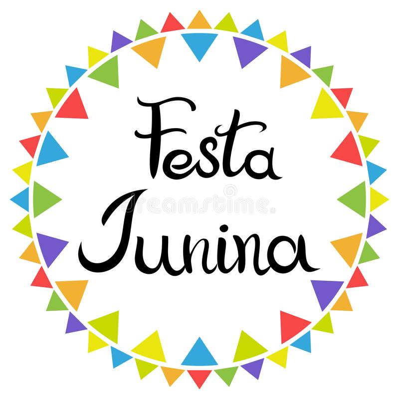E Festa Junina Латино-американский праздник Надпись руки вычерченная изолированная на белой предпосылке иллюстрация штока