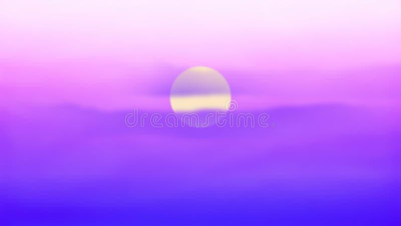 E Солнце, небо, озеро Заход солнца или ландшафт восхода солнца иллюстрация штока