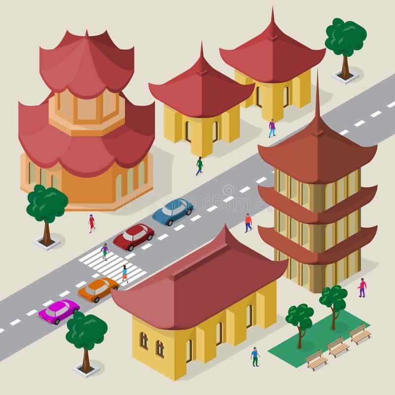E Fije de edificios, de pagoda, del camino, de bancos, de árboles, de coches y de gente asiáticos isométricos libre illustration