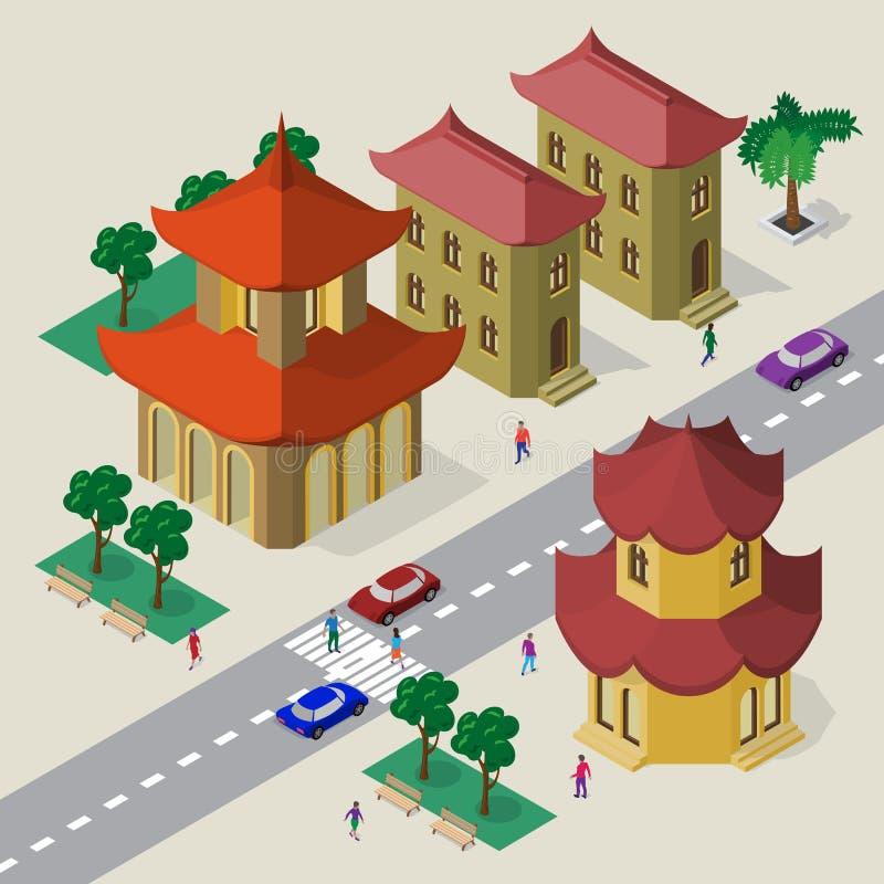 E Fije de edificios, de pagoda, del camino, de bancos, de árboles, de coches y de gente asiáticos isométricos ilustración del vector