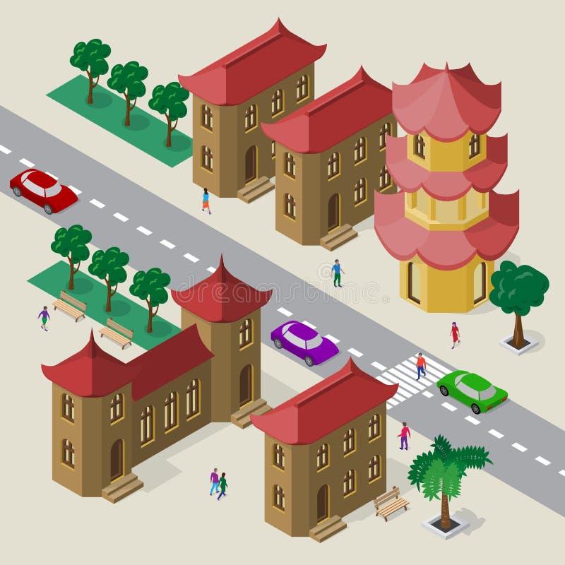 E Fije de edificios, de pagoda, del camino, de bancos, de árboles, de coches y de gente isométricos libre illustration