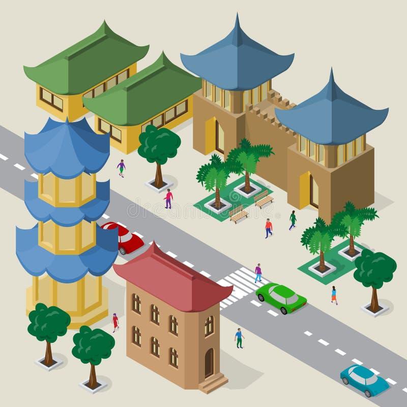 E Fije de edificios, de pagoda, de fortaleza, del camino, de bancos, de árboles, de coches y de gente asiáticos isométricos ilustración del vector