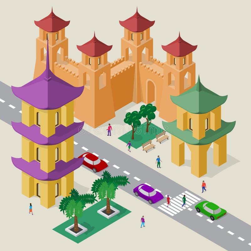 E Fije de los edificios isométricos, pagoda, pared con las torres, camino, bancos, árboles, coches de la fortaleza ilustración del vector