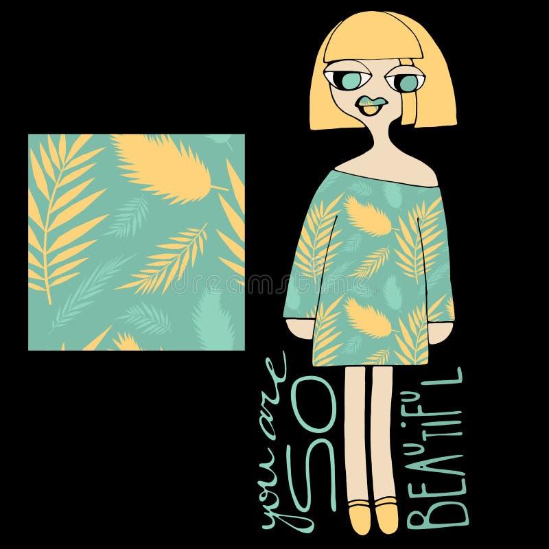 E Fille avec la robe et modèle sans couture sur le mur Fond coloré pour des présentations illustration de vecteur