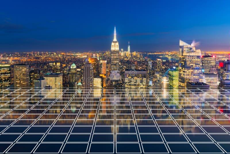 E Finanzbezirk und Geschäftszentren in der intelligenten städtischen Stadt herein lizenzfreies stockbild