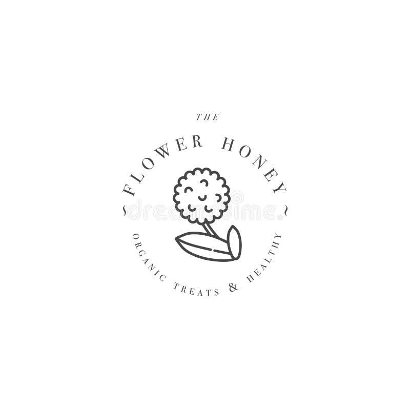 E Fiore di eco ed organico del miele dell'etichetta per miele stile lineare illustrazione di stock