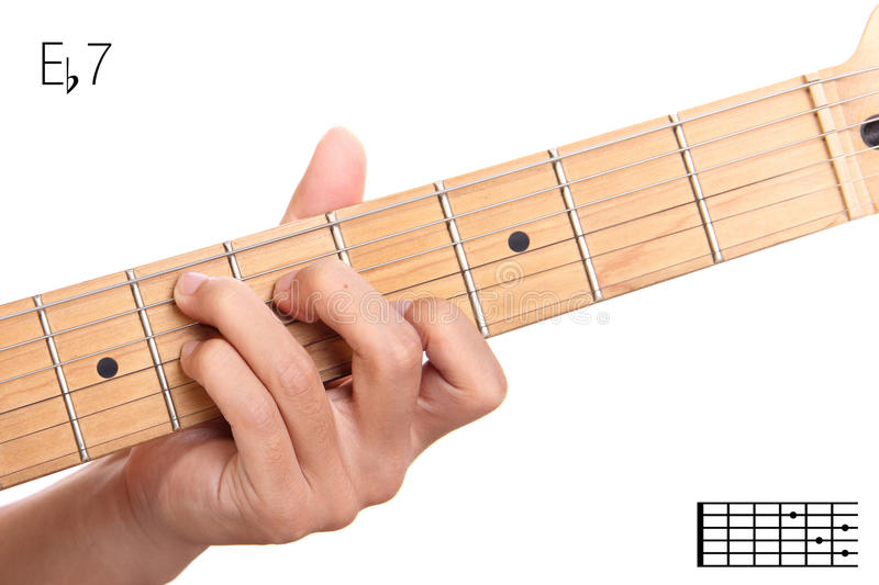 E Flat Dominant Seventh Guitar Chord Tutorial Stock Photo Image Of