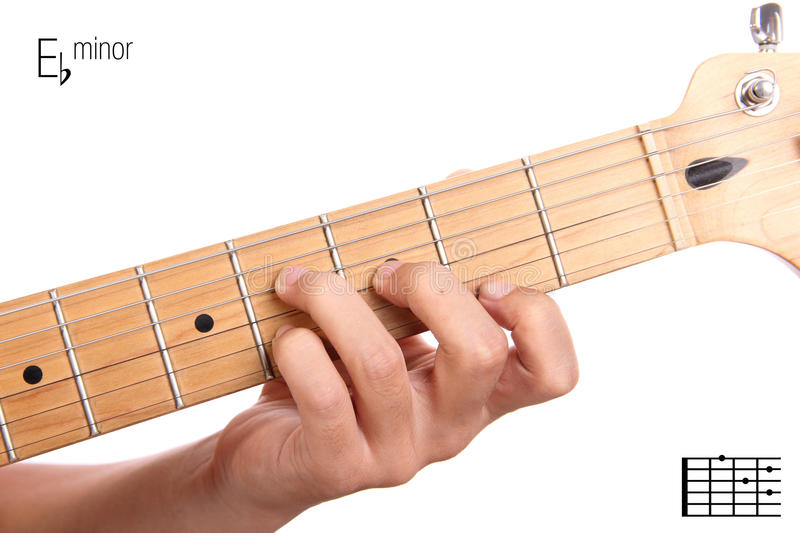 E Flat Minor Guitar Chord Tutorial Stock Image Image Of Lesson