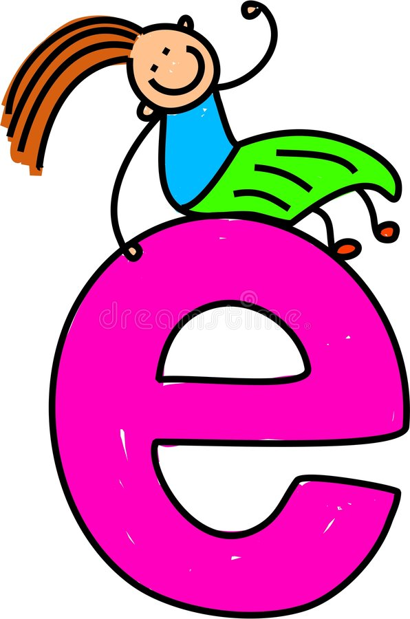 e-flickabokstav vektor illustrationer