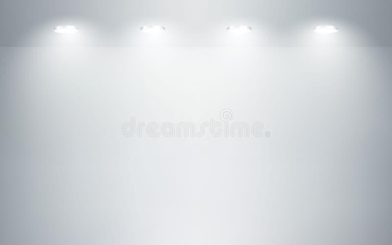 E Fondo bianco del pavimento e della parete Pulisca l'officina per fotografia o la presentazione Illustrazione di vettore illustrazione vettoriale