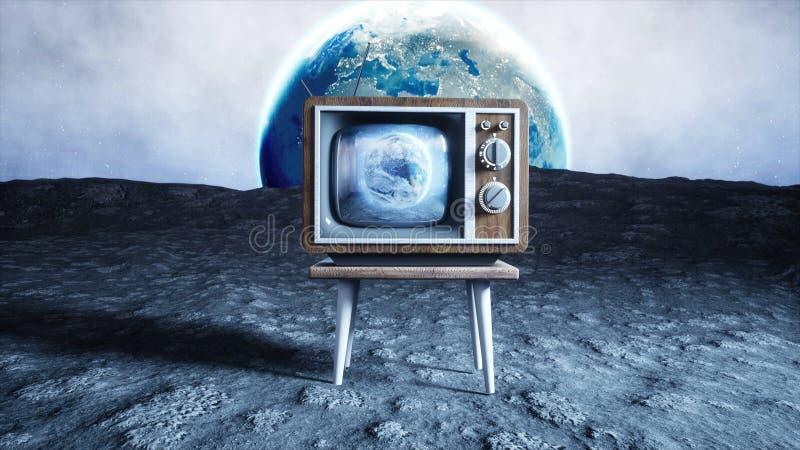E Fondo della terra Concetto dello spazio rappresentazione di radiodiffusione 3d fotografia stock