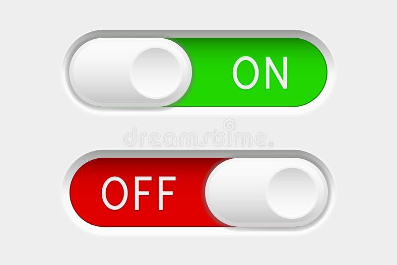E fora de botões do slider Botões vermelhos e verdes da relação do interruptor ilustração royalty free