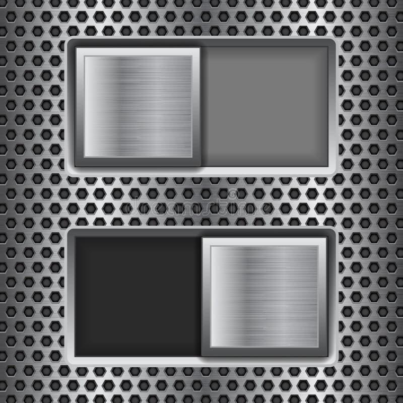 E fora de botões quadrados do slider Botões da relação do interruptor do metal em fundo perfurado ilustração stock