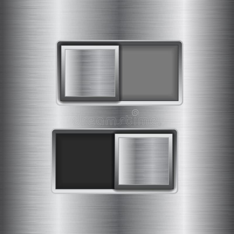 E fora de botões quadrados do slider Botões da relação do interruptor do metal no fundo de aço inoxidável ilustração do vetor