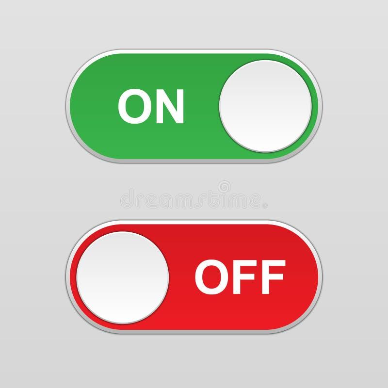 E fora do botão de interruptor de alavanca ilustração royalty free