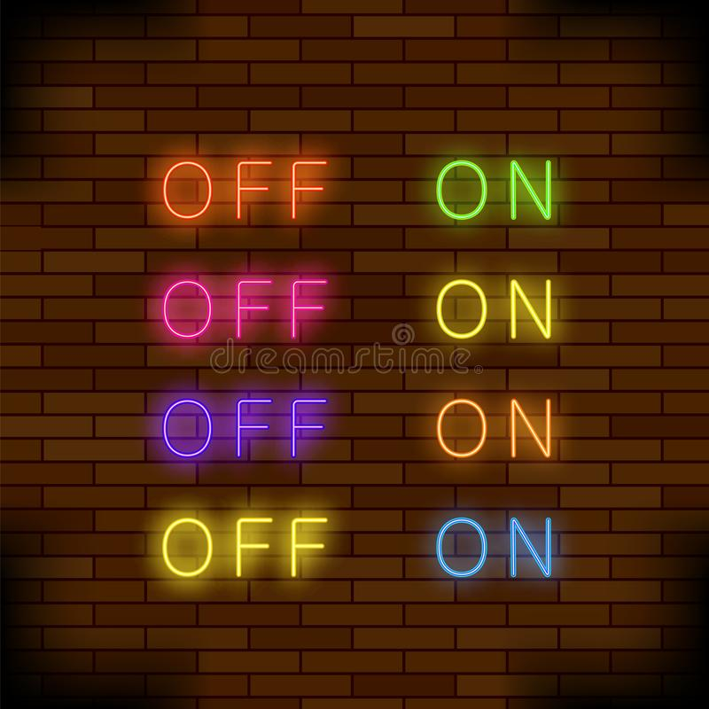E fora do sinal do interruptor do pino de madeira da luz de néon da lâmpada Botões fluorescentes coloridos ilustração stock