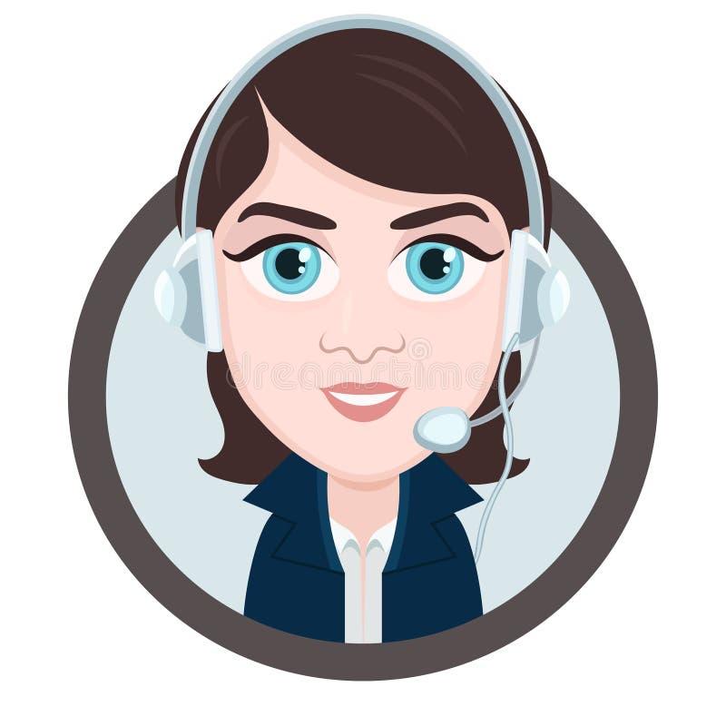 E Frau Brunette mit großen Augen mit einem Kopfhörer, vektor abbildung